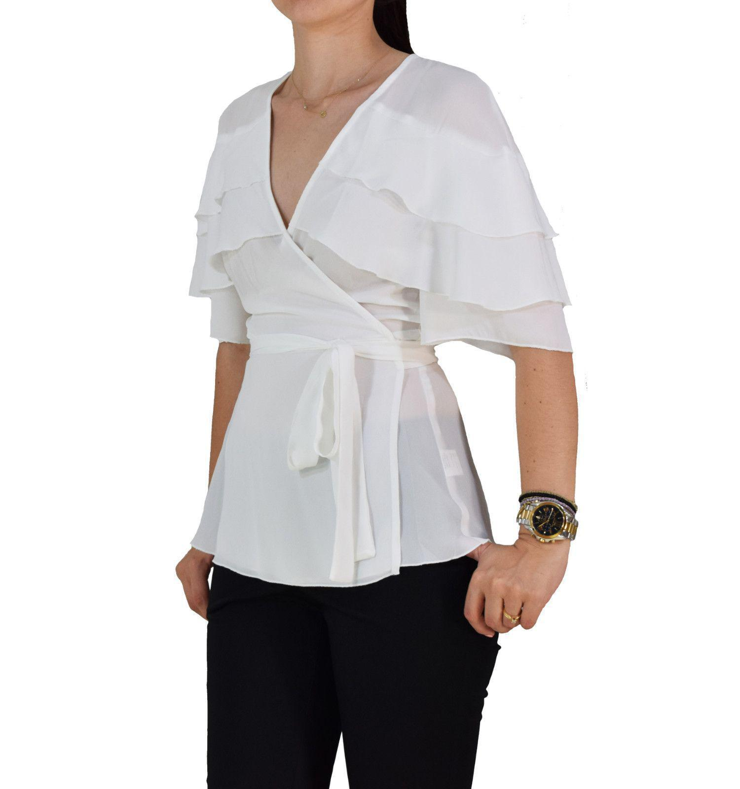 baa3fe500880 Γυναικεία Μπλούζα Κρουαζέ Με Βολάν My T S18T4221 Λευκή